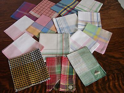 15 Vintage cotton & linen checked & striped ladies,women's handkerchiefs,