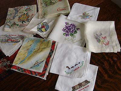 11 Vintage holiday souvenir handkerchiefs,Scotland, Lakeland, Cromer, .Hastings,