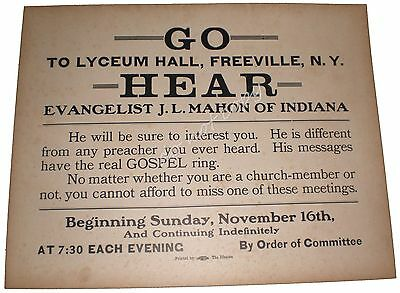 Freeville NY Lyceum Hall Mahon Evangelist Vintage Sign Gospel Church The Ithacan