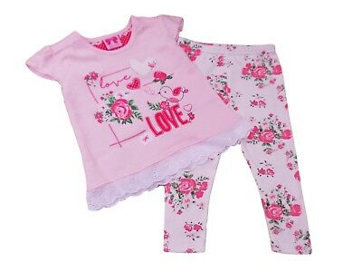 BNWT Baby girls summer pink and white Love heart top & floral rose leggings set
