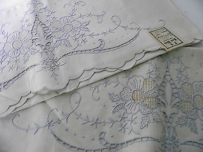 Antique Madeira PAIR Embroidered Cutwork Pillow Cases Pillowcases NWT 22x36 RARE