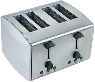 Brushed Stainless Steel 4 Slice Toaster Browning Control & Toast Crumb Tray