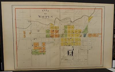 Wisconsin Fond Du Lac Couny Map City of Waupun 1910  Double Page  J11#18