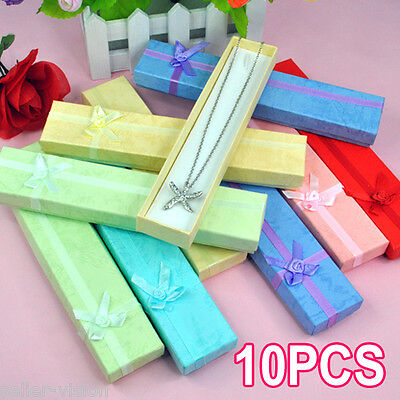 10 x Luxury Long Card Jewellery Gift Boxes Watch Display Pendant Presentation