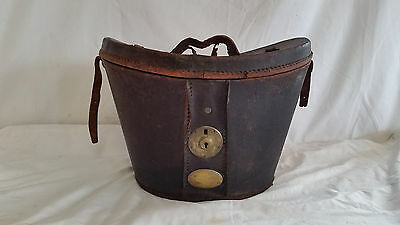 Antique Mens 1800s Leather Hat Box For Stovepipe Top Hat Satin Lined Brass Lock