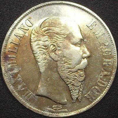 Mexico 1866-Mo Silver Peso Choice Almost Uncirculated