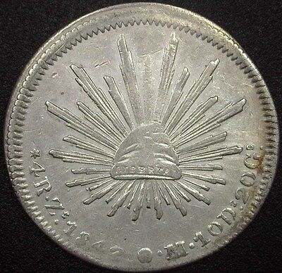 Mexico 1842-Zsom Silver 4 Reales  Choice Extremely Fine