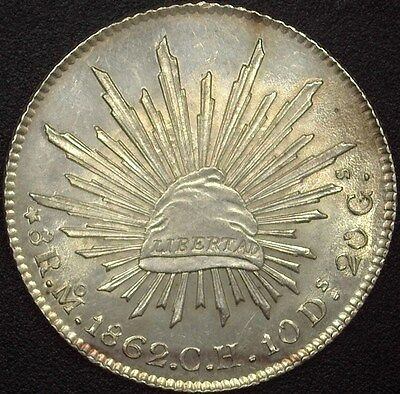 Mexico 1862-Moch Silver 8 Reales  Choice Uncirculated