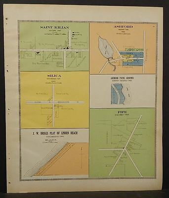 Wisconsin Fond Du Lac Couny Map Saint Kilian Pipe Ashford  1910   J11#21