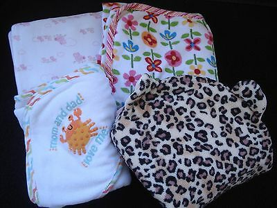 Lot of Four Infant Girl Towels