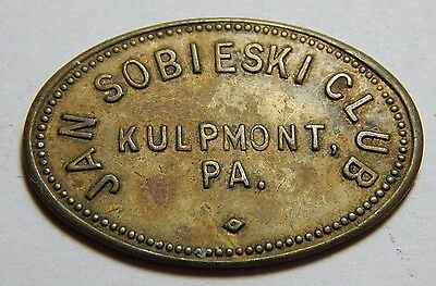 Vintage Kulpmont PA - Jan Sobieski Club Good For 10¢ Token - Oval