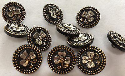 """TWO (2) 3/4"""" SHAMROCK Buttons-Black Glass with Gold and Silver Luster"""