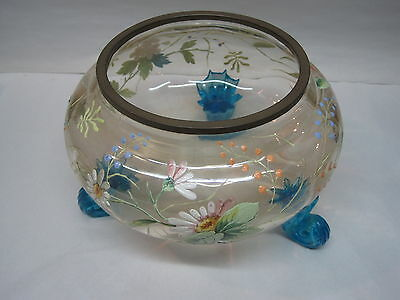 Antique Bowl Victorian Hand Blown Glass Bowl With Enamel Flowers & Brass Rim