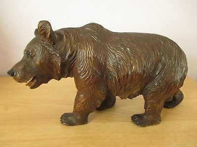 "Antique 11"" Quality Black Forest Strolling Bear Swiss Wood Carved Carving"