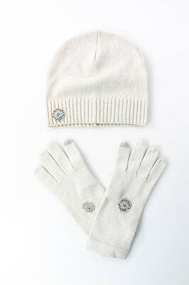 Designer Ivory Silver Metallic Jeweled Detail Gloves Hat Set New
