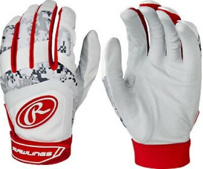 1 Pair Rawlings 5150BGY 5150 Digi Camo Large Red Youth Batting Gloves New!