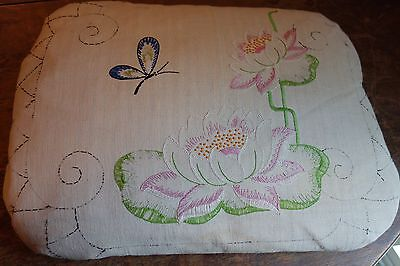 1930's Pillow-14x19-Embroidered Waterlilies- Down-Stuffed,Ticking-ROMANTIC- SALE