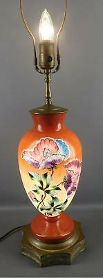 Antique Victorian Milk Glass Hand Painted Enamel Floral Table Lamp Brass Base