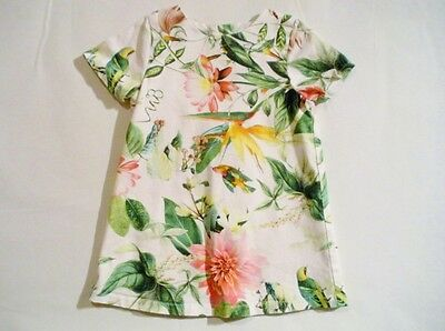 Girls 9-12M Next Bird Of Paradise White & Green Shift Dress Postage Discount