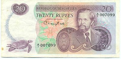 Seychelles Note 20 Rupees 1977 Serial A/1 P 20 Vf