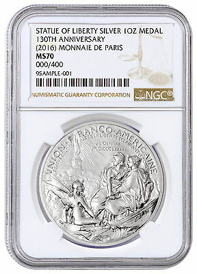 2016 France 1 Oz Silver Statue of Liberty 130th Anniv. Medal NGC MS70 SKU43439