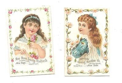 Lot 2 Victorian trade cards New Home sewing machine, Orange, MA