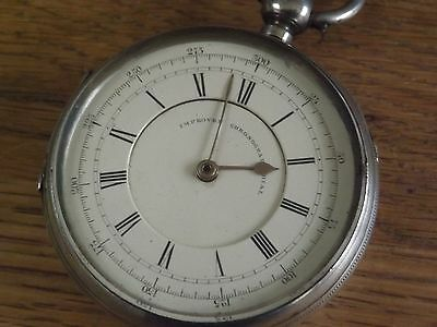 LARGE ANTIQUE SOLID STERLING SILVER CHRONOGRAPH POCKET WATCH c1876