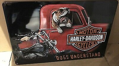 Ande Rooney Harley Davidson Dogs Understand Embossed  Metal Sign New 059