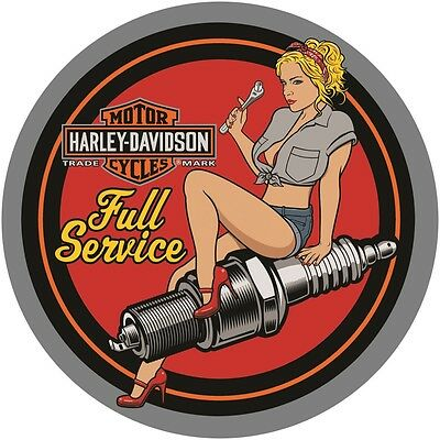 Ande Rooney Harley Davidson Spark Plug Babe Embossed  Metal Sign New 089
