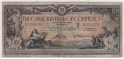 1917 Canadian Bank of Commerce $10 note B258076 16-04-12a margin tears F12
