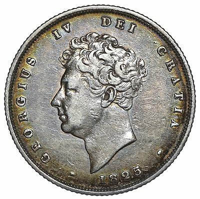 1825 Shilling - George Iv British Silver Coin - Nice