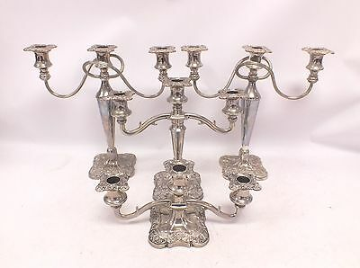 Set of 4 Antique/Vintage Silver Plated CANDELABRAS Various Designs - C27