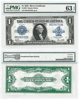 1923 $1 Silver Certificate FR #238 Woods - White PMG Choice Unc 63 EPQ SKU46541