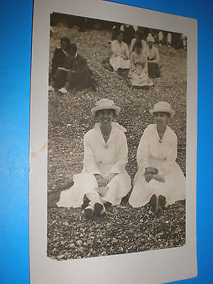 Old real photograph RPPC postcard 2 ladies in the park c1910s