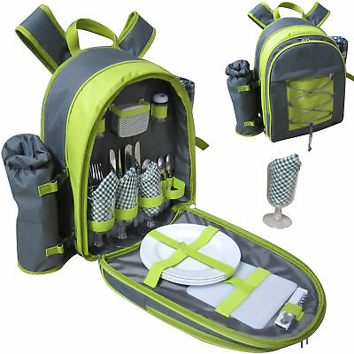 4 Person Picnic Backpack Rucksack with Blanket, Cooler, Wine Chiller Cutlery