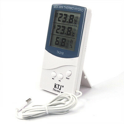 Indoor Outdoor Digital Thermometer 2 Sensors Alarm Weather and Temperature Guage