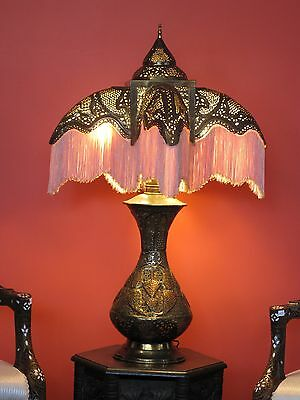 Antique Syrian Middle Eastern Brass Pierced Table Lamp!!
