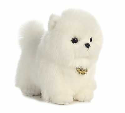 AURORA MIYONI Stuffed Plush Toy POMERANIAN POMPOM Animal PUPPY DOG Cream White