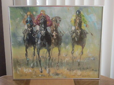 Horse Racing Painting Oil On Canvas LISTED ARTIST Veccio EX!