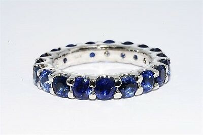 $2,200 4.45Ct Natural Blue Sapphire Eternity Band 14K White Gold