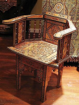 Hand-made wooden mosaic and mother of pearl Syrian chair from Damascus