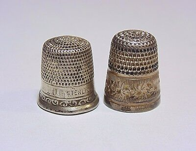 Vintage Antique Sterling Silver 925 Sewing Thimble Lot 2 Pieces English?