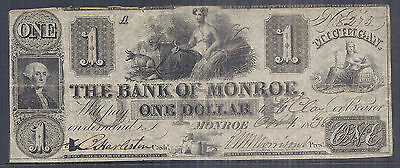 1838 US Obsolete Currency - Bank of Monroe, Michigan - $1 Dollar - Plate A*