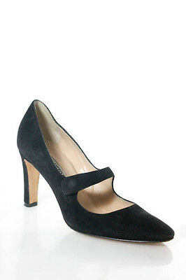 Manolo Blahnik Black Suede Round Toe Mary Jane High Heel Pumps Size 37 7