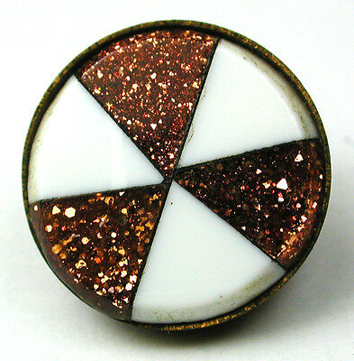 Antique Glass in Metal Button Goldstone & White w/ Brass Border - 9/16""