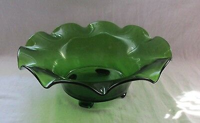 Cambridge Elegant Glass Emerald Green Large Footed Console Bowl