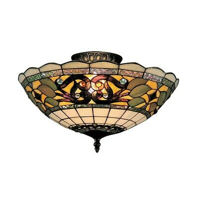 Elk Lighting Tiffany Buckingham 3-Light Semi Flush, Vintage Antique - 941-TB