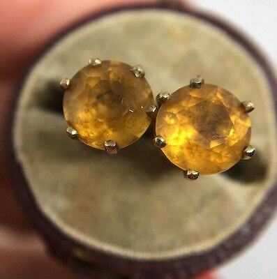 Stunning Vintage  Yellow Gold Large Size Citrine Stud Style Earrings Pretty