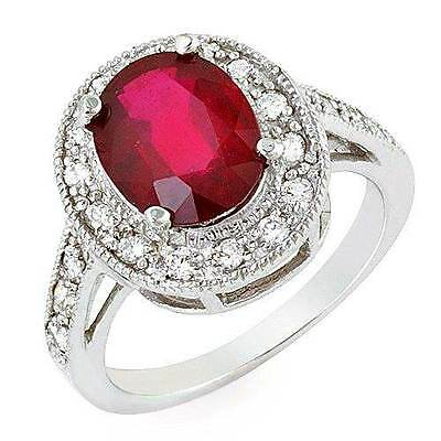Estate ring 3.4 ct natural ruby and diamond 14k gold