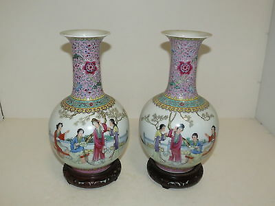 """* Beautiful Pair Of Chinese Famille Rose Stamped Signed Vases 11"""" *"""